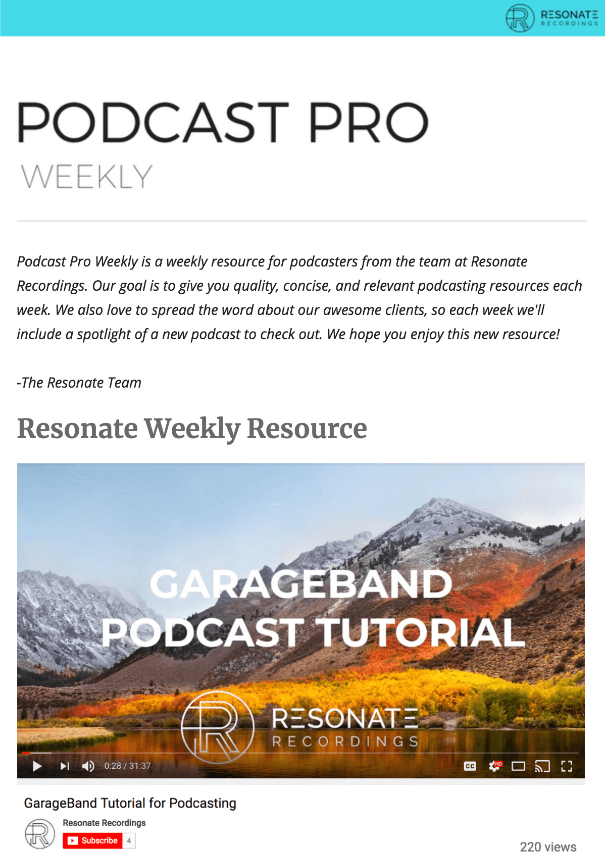 Podcast Newsletter