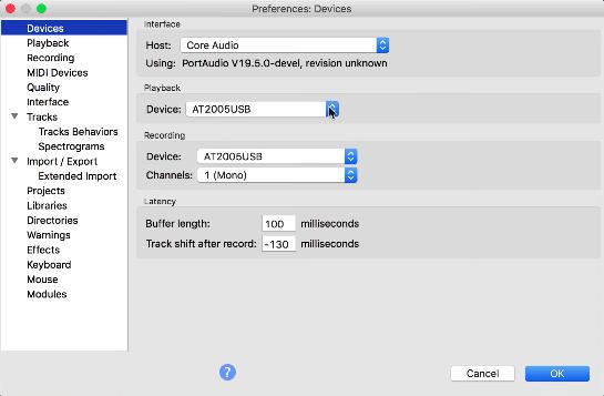 Configure Your Input on Audacity