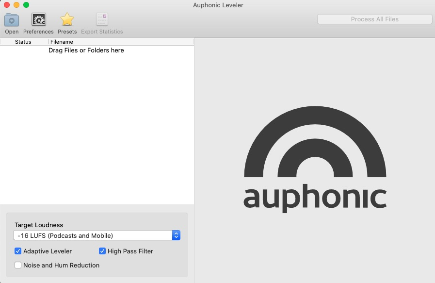 Screenshot of Auphonic Automated Podcast Mixing Software
