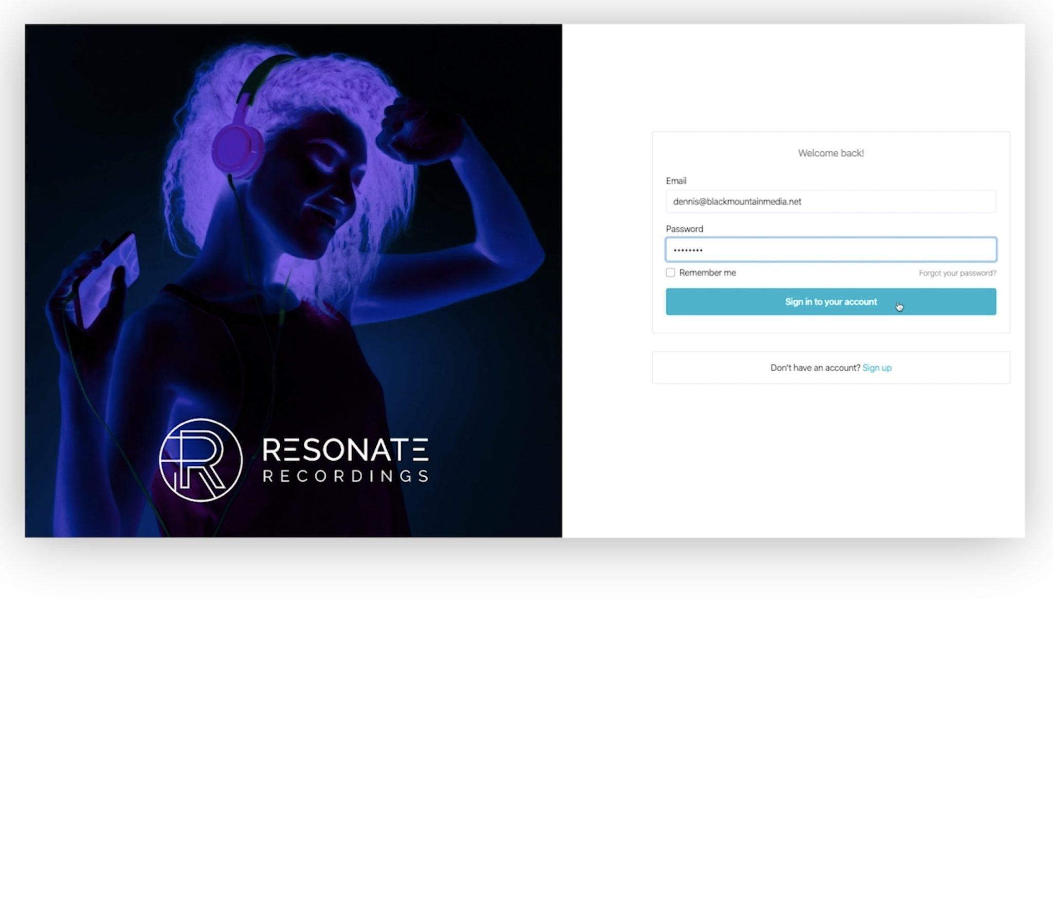 Screenshot of Resonate Podcast Production App Login Screen