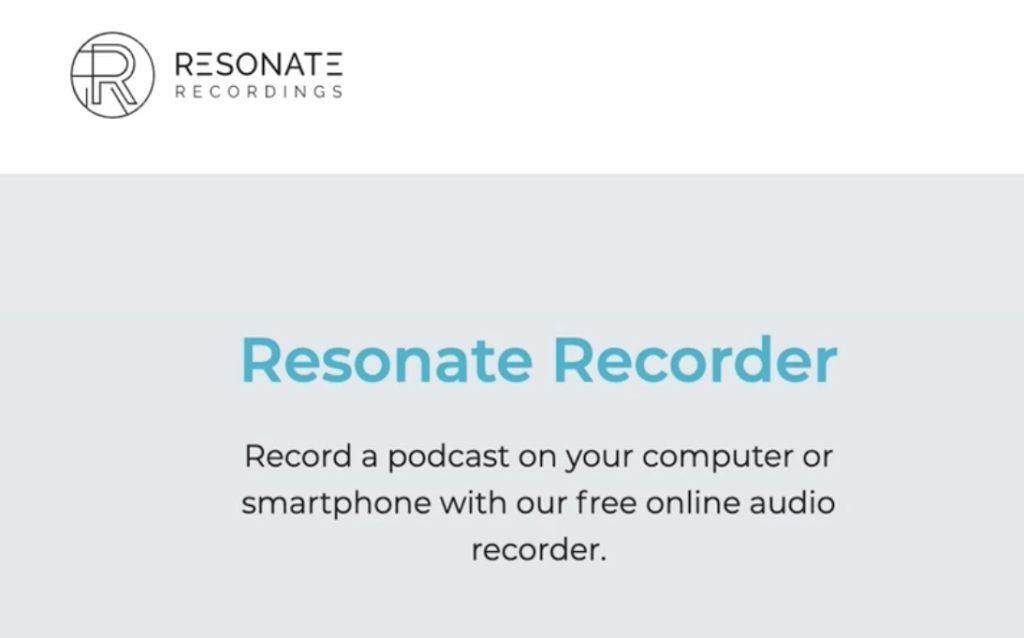 Screenshot of the Resonate Recorder App