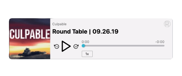 Screenshot of a Resonate Hosting Podcast Embed Player