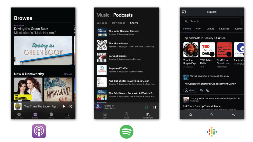 Screenshots of podcast apps Apple, Spotify, and Google