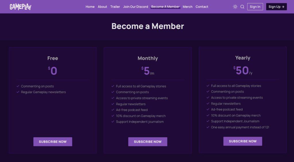 Gameplay Membership