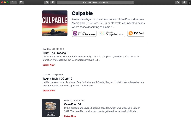 Resonate podcast hosting microsite